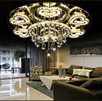 Wholesale Heart Ceiling Light - Luxury Modern Lustre De Cristal Ceiling Led Chrome Chandelier Mirror Steel Romantic Acrylic Heart Design Chandelier Light LLFA