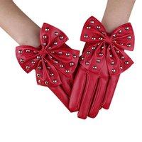 Wholesale Gloves Bow Rivet - Wholesale- Hot Sale Women Leather Rivet Winter Bow Gloves Cashmere Super Warm Driving Outdoor Gants Femme Luvas Em Couro Senhora #ED