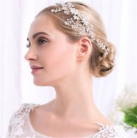 Vintage Wedding Bridal Crystal Flower Headband Hair Band Rhinestone Headpiece Accessoires pour cheveux Jewelry Silver Headdress Wholesale Cheap