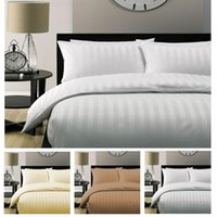 Wholesale Doona White - Wholesale- 5 Star Hotel Quality STRIPE Luxury Quilt Doona Duvet Cover duvet cover 100% cotton white satin 150 200 230 220 240