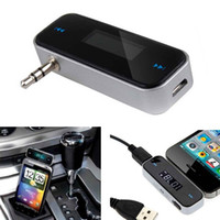 Wholesale Player For Mp4 - Wireless Music to Car Radio FM Transmitter for 3.5mm MP3 for iPod Phones Tablets CAU_30E