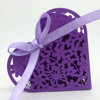 Wholesale Chinese Boxes Wedding Favors - Wedding favors laser cutting heart shape floral favor box wedding decorations baby shower candy boxes party favor boxes multi color