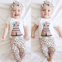 Wholesale Diamonds Romper - 2017 New cute Baby Girls Outfits Set Summer Sets Cotton romper onesies diaper covers + Harem Pants - Diamond floral wild and free