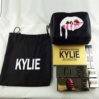 Wholesale Brow Bag - Kylie Makeup Bag Gift Box Golden Box Gloss Suits Holiday Collection Cosmetics Birthday Bundle Bronze Kyliner Kylie Jenner Brow Brush