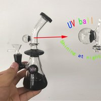 Wholesale Real Smoke - 19cm Tall Thick Black Glass Bong with Uv Ball Luminous in Night Heady Smoking Pipes Noctilucent Oil Rig 100% Real Image Smoking Hukahs