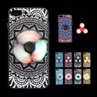 Multicolor case help - 2 In LED Hand Spinner with TPU Back Cover Case Funny Helps Relief Stress Fingertips Gyro Phone Case Protect For iPhone