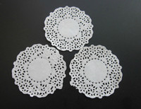 Wholesale Dish Paper - 3.5 inch White lace paper Doily Round Restaurant Table Dish Place Mat Cake Food Paper Pad Doilies Party Decoration