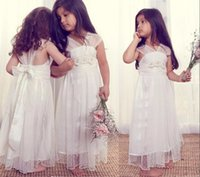 Wholesale Kids Dress Designs For Girls - 2017 Ivory Flower Girl Dresses for Weddings Unique Design Tulle V-neck Cap Sleeves Kids Party Wear Girls Pageant Birthday Gowns