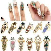 Wholesale Nail Crystal Charms - Fashion Rhinestone Cute Bowknot Finger Nail Ring Charm Crown Flower Crystal Female Personality Nail Art Rings for women jewelry wholesale