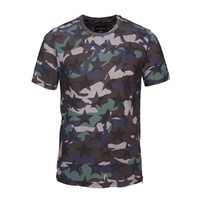 Wholesale Vintage Star Male - Vintage Camouflage and Star 3D Printed Men T-shirt Fashion Casual Male Shirt Outdoor Sport Short Sleeve Zipper Side Tee BL-015