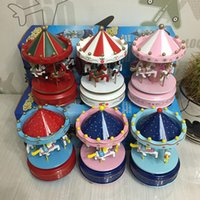 Wholesale Horse Swing - 24Pcs Carousel Music Box Birthday Gift Toys For Children 4 Horse Go Round Musical Swings Carousels Classic Home Ornaments