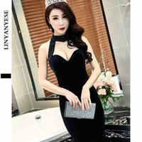 Wholesale Strapless Cheongsam Dress - 2017 spring new sexy halter bra dress dress night dress cheongsam party long femalePopular high-end fashion elegant romanti