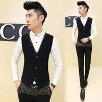Wholesale Slim Dresses Korea - Wholesale- 2015 New Korea Dress Design Men Blazer Vest Slim Fit Suits All-match Waistcoat Vests Gold Floral Printed Colete Masculino Black