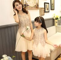 Wholesale Laced Quarter Sleeve Dresses - Family set clothes summer Lace short-sleeve Parent-child outfit lace dress Mother and daughter short sleeves princess dress