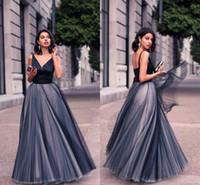robes longues découpées noires achat en gros de-Belle formelle robes de soirée en tulle noir satin spaghetti sangles col v vintage longue découpe robes de soirée de bal sur mesure femmes robes