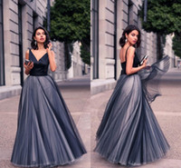 Wholesale Nice Women Dresses - Nice Formal Black Tulle Evening Dresses Satin Spaghetti Straps V Neck Vintage Long Cut Out Prom Party Dresses Custom Made Women Gowns
