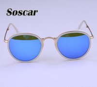 Wholesale Leather Folding Mirror - Round Folding Sunglasses 3517 RAY Fashion Women Portable Bans Flash Mirror Lenses Brand Design Summer Sunglass with Folding Leather Box