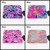 Wholesale Natural Decorative - 2017 New Lilly Pulitzer Pattern Customized Color Natural Rubber Anti-Slip Bottom Rectangular Game Mouse Pad Home Decorative Table Mat
