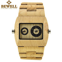 Wholesale Case For Folding Glasses - BEWELL Mens Dual Time Zone Watches Men Luxury Brand Watch for Man Wood Rectangle Case Wooden Quartz-watch reloje Relogio 021C