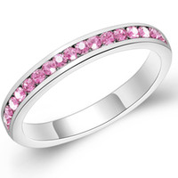 Wholesale Kunzite Rings Sterling Silver - Band Ring 925 Sterling Silver Sapphire Kunzite Amethyst London Blue Topaz Rhinestone Shinny Promise Shinny Wedding Ring Size 7 8