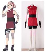 Wholesale female naruto cosplay online - Naruto The movie The last Sakura Uchiha Ninja outfit Cosplay Costumes
