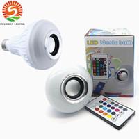 Wholesale Colored Spotlights - New arrive 12W E27 RGBW Smart phone control Bluetooth Led Speaker Light LED Bulb Lamp Spotlight AC 85-265V free shipping