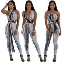 Опт-TOP Fashion Multiway Wrap Jumpsuit 2016 NEW Summer Women Sexy Tie Dye Print Bodycon Bandage Rompers Catsuit Playsuit Спецодежда