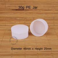 Wholesale Pe Jar - Wholesale- 30pcs Lot Promotion 30g Plastic PE Cream Jar Empty 30ml Women Cosmetic Vial Sample Pot White Cap Small Refillable Vial