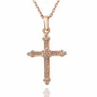 Wholesale Costume Jewelry Gold Chains - 18K Rose Gold Plated Clear Crystal Full Paved Cross Crucifix Chain Pendant Necklace for Women Fashion Party Costume Jewelry Gift