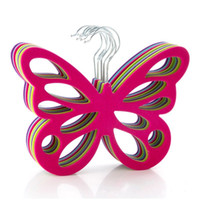 Wholesale Butterfly Clip Decoration - Creative Household Hanger Plastic Pile Coating Scarves Hangers Butterfly Shape Non Slip Clothes Rack For Home decoration 3 8bd B