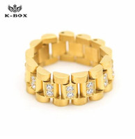 Wholesale Diamond Cut Ring Men - 2017 spring Luxury Stainless Steel 24K Gold Plated Ice Out Lab Diamond Cut Ring Hiphop Mens Watchband President Style Band Ring men rings