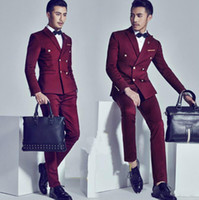 Wholesale Double Buttons - Burgundy Groom Tuxedos Double Breasted Slim Fit Mens Wedding Suit Groomsman Bridesman Formal Mens Suit Jacket+Pants+Bow Tie