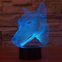 Wholesale Unique Study - USB Powered 7 Colors Amazing Dog Head Models Optical Illusion 3D Glow LED Lamp Art Sculpture Produces Unique Lighting Effects