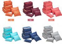 Wholesale Bra Se - .Fashion Double Zipper Waterproof Travelling Bags Men Women Nylon Luggage Packing Cube Bag Underware Bra Storage Bag Organizer 6pcs se