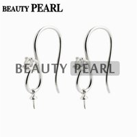 Wholesale Drill Based - 5 Pairs Earring Base 925 Sterling Silver Zircon Fishhook with Bead Cap for Half Drilled Pearls