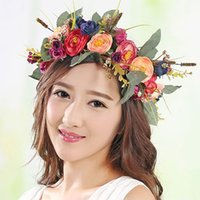 Lady Girls Bride Imitation Flower Headband Floral Head Wreath Femmes Beach Headband Floral Hair Guirlandes Bohemia Beach Flower HairBands BD048