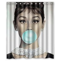 "Wholesale Audrey Hepburn Fabric - Audrey Hepburn Christmas Gift Design of Waterproof Bathroom Fabric Shower Curtain with 12hooks 66""x72"" inch"