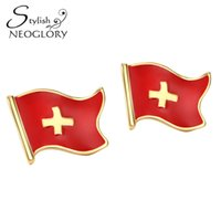 Wholesale Switzerland Crystal Jewelry - Gold Plated Zinc Alloy Switzerland Flag Stud Earrings for Women Men Casual Jewelry 2017 New CLE Neoglory