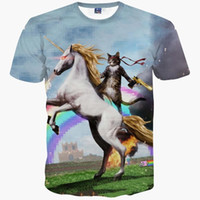 galaxie druck t-shirts für männer großhandel-3D T-Shirts neue Mode Männer / Frauen T-shirt 3d drucken Katze Kavalier Reiten Pferd lustig Raum Galaxy T-Shirt Sommer T-Shirts