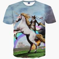 ingrosso stampa di galaxy per uomini-T-Shirt 3D T-shirt Moda Uomo / donna 3d stampa gatto cavalier equitazione divertente spazio galaxy t-shirt t-shirt estiva