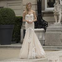 Wholesale High End Beach Wedding Dresses - 2018 New Style High-End Sexy Wedding Dress Sweetheart Lace Applique Mermaid Bridal Gown Floor Length Zipper Back Wedding Dresses