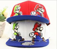 Wholesale Mario Hat Cartoon - Snapback Children's Hat Super Mario Cartoon Hip hop hip-hop along baseball cap