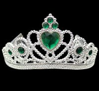 plastik party tiaras groihandel-Cosplay Prinzessin Kinder Crown Plastic Tiara Birthday Party Favor Mädchen Silber Harz Herz Kristall Stirnbänder Festzug Prom Kinder Weihnachten Geschenk