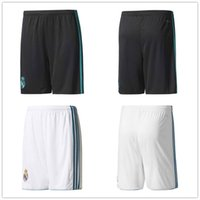 Wholesale Drawstring Top - ^_^ wholesales 17 18 madrid home away top thai AAA quality custom number football shorts soccer uniforms soccer clothing pants