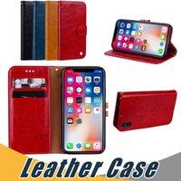 wachs iphone fall großhandel-Für iPhone X 8 7 6 Plus 5 Öl Wachs Ledertasche mit Kartensteckplatz Flip Stand Case Cover