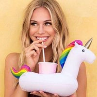 original unicorn - Original PVC Inflatable Drink Cup Holder White Unicorn Beverage Holders Pegasus Floating Glass Inflatable Pool Toy Beach Stand