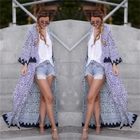 Wholesale Kimono Jackets Wholesale - Wholesale- 2016 New Fashion Women Jacket Boho Printed Chiffon Loose Shawl Kimono Cardigan Tops Cover up Outwear female blusas