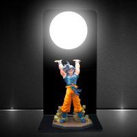 Wholesale Dragon Lights - Wholesale- HAIXIANG Dragon Ball Son Goku Strength bombs Table Lamp Luminaria LED Night Lights Room Decorative lighting Holiday gifts