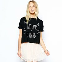 Wholesale Wholesale High Street Clothing - Wholesale-New 2016 Summer T Shirts Women Letter The Time is Meow print Short T-Shirt Crop Tops High Street Casual Plus Size Women Clothing