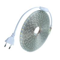 mètres ac achat en gros de-Imperméable à l'eau SMD5050 led bande AC220V flexible led bande 60 leds / mètre extérieur éclairage de jardin avec prise UE